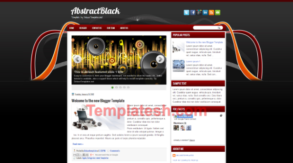 abstract black blogger template