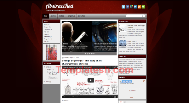 abstract red blogger template