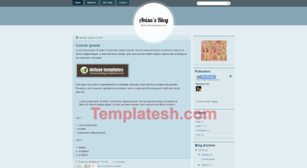 anisa blog blogger template