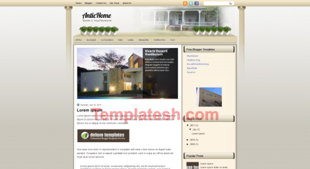 antic home blogger template