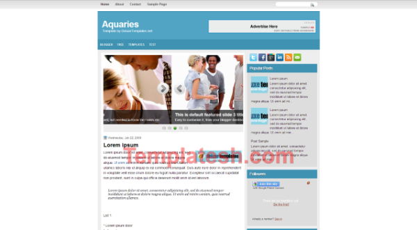 aquaries blogger template