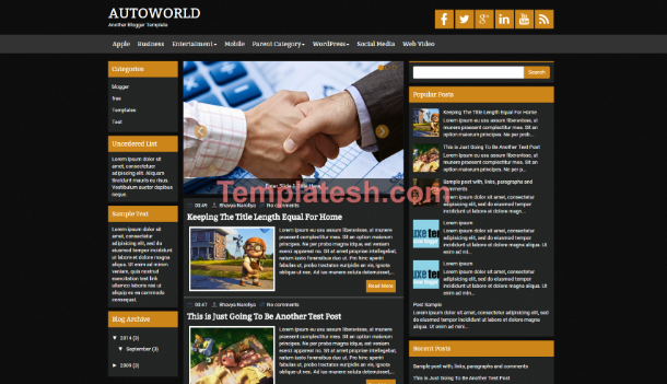 auto world blogger template