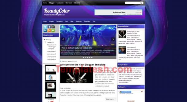 beauty color blogger template