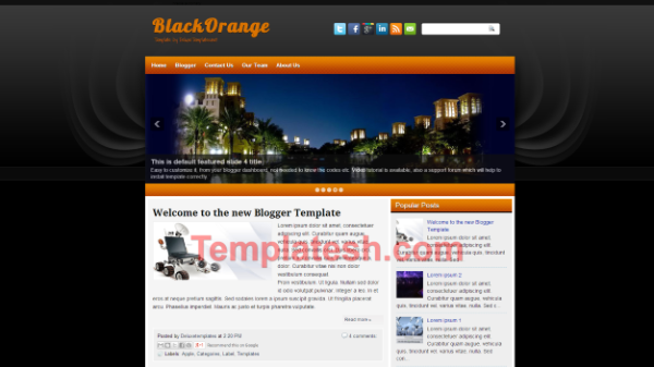 black and orange blogger template