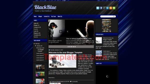 black blue blogger template