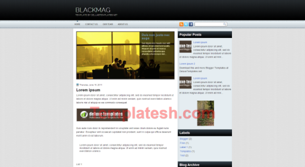 black mag blogger template