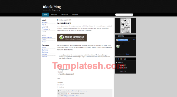 black mag blogger template