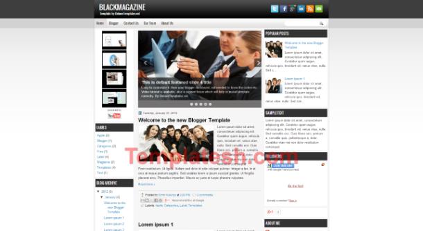 black magazine blogger template