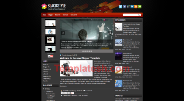 black style blogger template