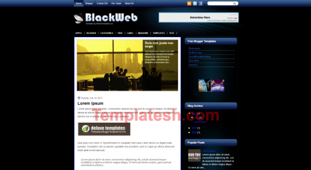black web blogger template