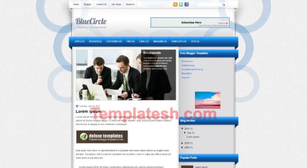 blue circle blogger template