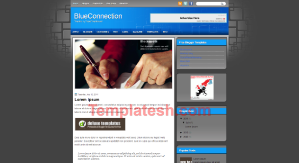 blue connection blogger template