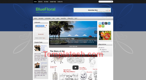 blue floral blogger template