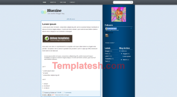 bluezine blogger template