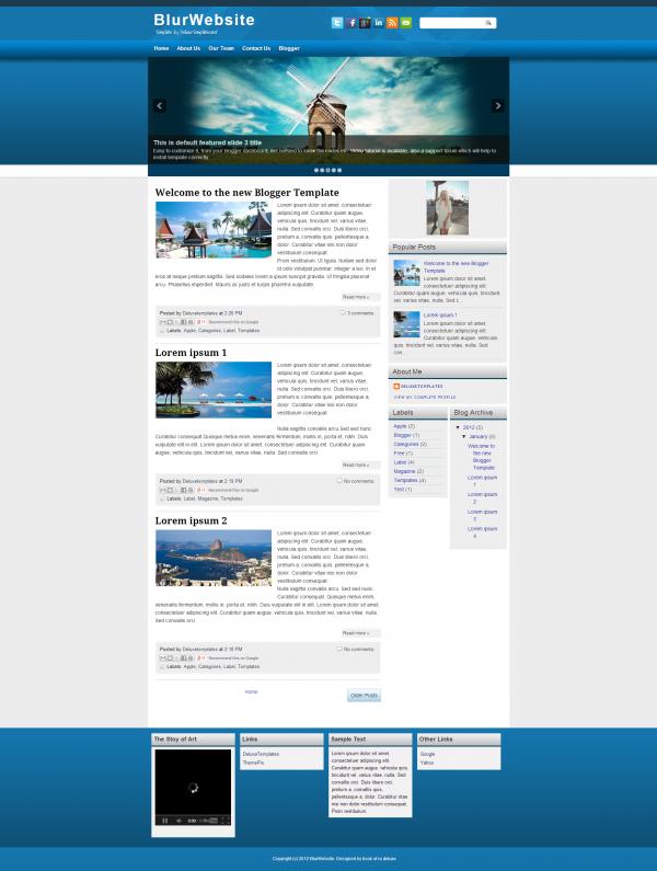 blur website  blogger template