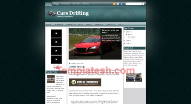 cars drifting blogger template