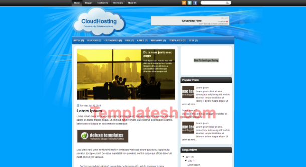 cloud hosting blogger template