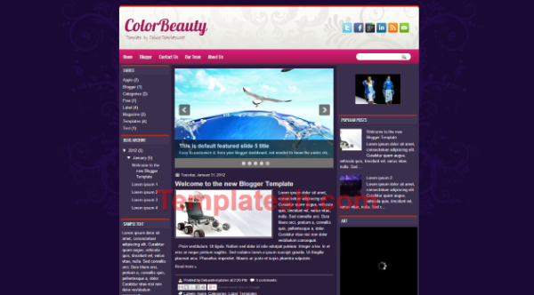 color beauty blogger template