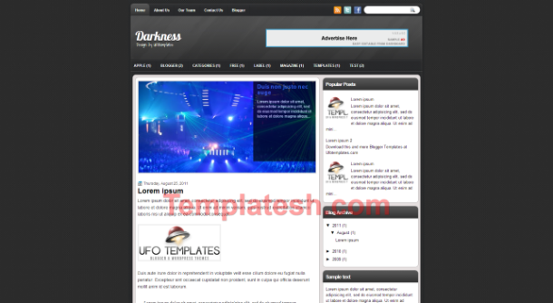 darkness blogger template