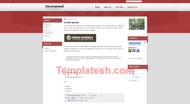 decomposed blogger template