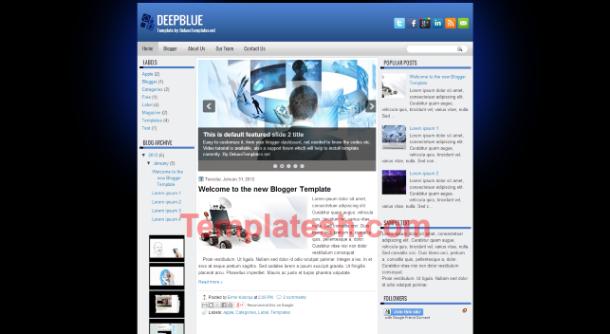 deep blue blogger template