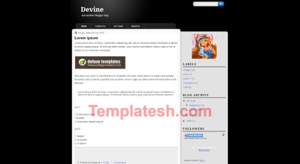 devine blogger template