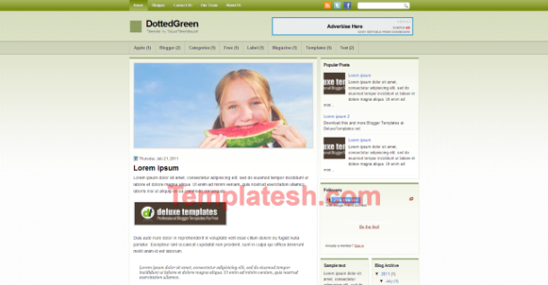 dotted green blogger template