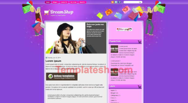 dream shop blogger template