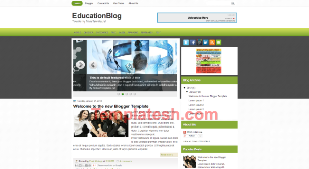 education blog blogger template