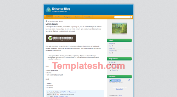 enhance blog blogger template