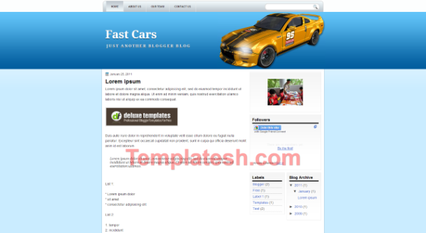 fast cars blogger template