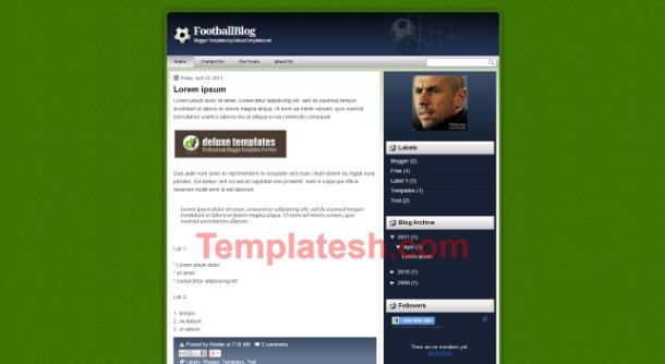 football blog blogger template