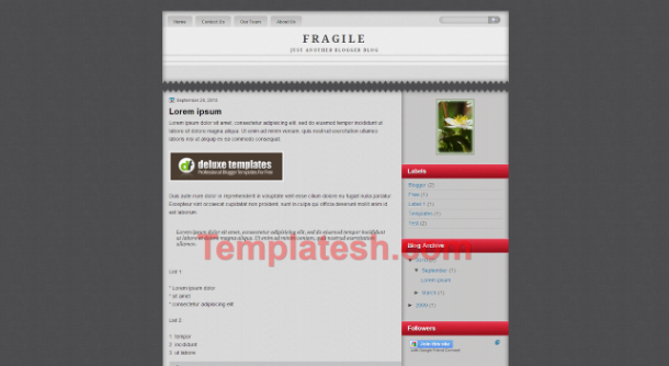 fragile blogger template