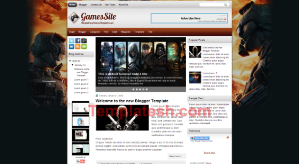 games site blogger template