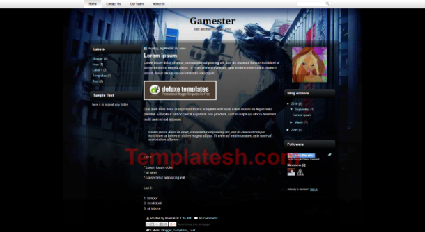 gamester blogger template