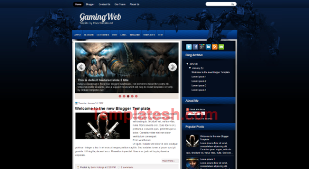 gaming web blogger template