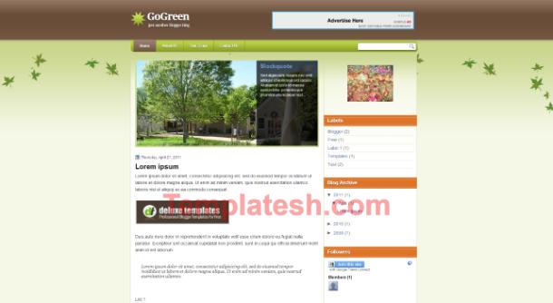 go green blogger template