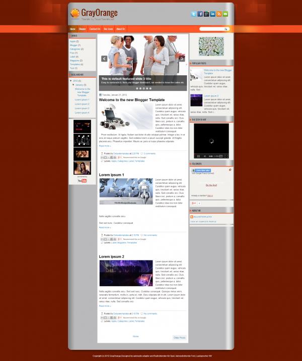 gray orange blogger template