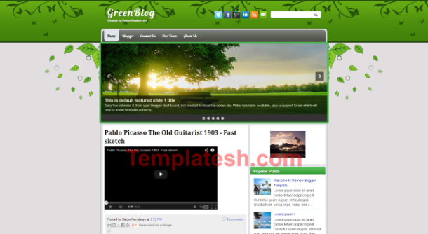 green blog blogger template