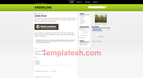 green line blogger template