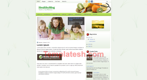 healthy blog blogger template