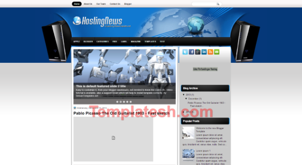 hosting news blogger template