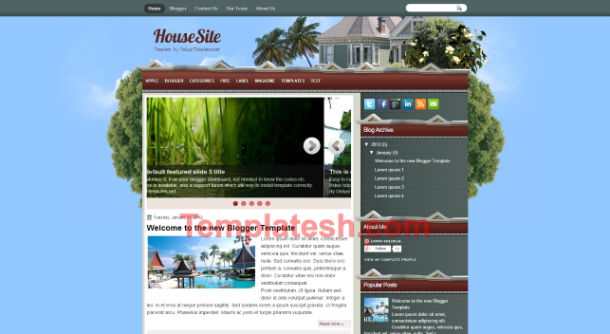 house site blogger template