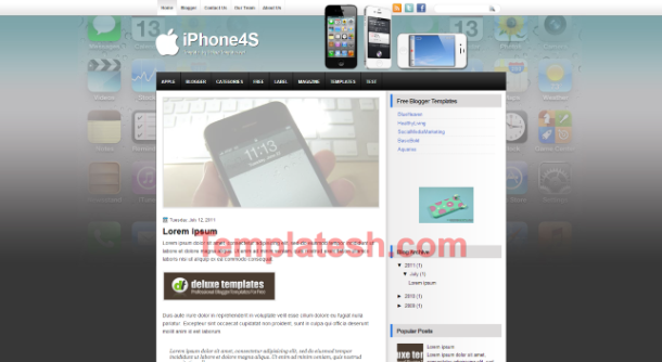 iphone 4s blogger template