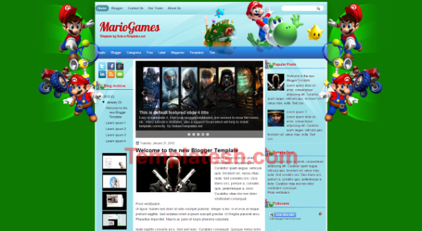 mario games blogger template