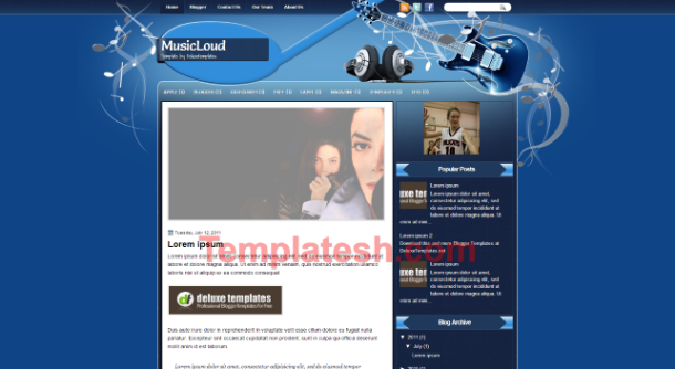music loud blogger template