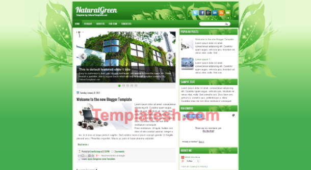 natural green blogger template