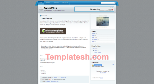news plus blogger template