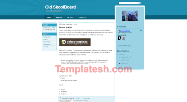 old skool board blogger template
