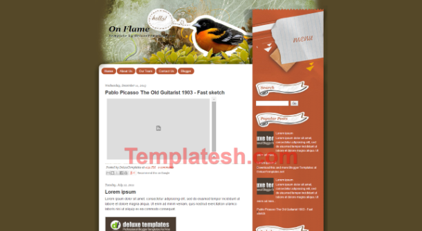 on flame blogger template
